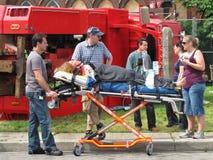Localización del lanzamiento de la película de una escena del accidente. Fotos de archivo