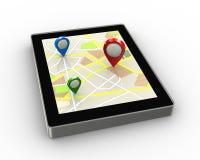 localizadores 3d en la tableta del mapa de los gps Foto de archivo libre de regalías