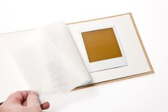 Localized blank Polaroid photo in gallery Stock Photos