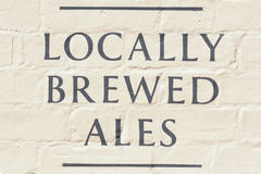Locally Brewed Ales sign outside public house Stock Image