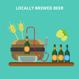 Locally brewed beer ale brewery concept flat vector. Locally brewed beer ale brewery concept. Small local home brewing industry machine rye hops bottle pouring stock illustration
