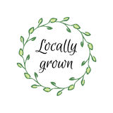 Locally grown hand-sketched herbal vector frame Royalty Free Stock Photos