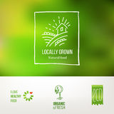 Locally Grown natural food logo set Stock Photography