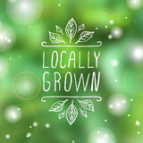 Locally grown - product label on  blurred Stock Photography