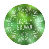 Locally grown - product label on blurred Royalty Free Stock Photos