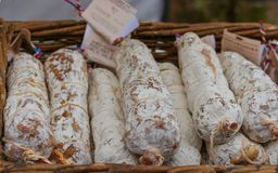 Tasty salami at local Shropshire farmers market royalty free stock photography