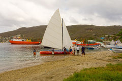 A locally made traditional sailboat rigged for a regatta Royalty Free Stock Image
