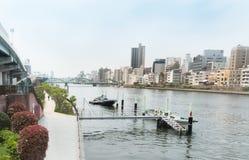 Locals идут в парк Sumida наряду с рекой Sumida токио Стоковая Фотография