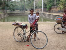 Locals in Angkor. Stock Photos