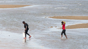 Locals collecting shellfish along the beach Stock Photos