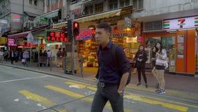 Locals crossing road in HongKong