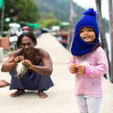 Locals in fisherman's village. Island is on Gulf of Thailand Stock Photos