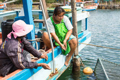 Locals in fisherman's village. Island is on Gulf of Thailand, near border with Cambodia Stock Photography
