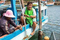 Locals in fisherman's village. Island is on Gulf of Thailand, near border with Cambodia Royalty Free Stock Photos