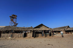Locals live in their temporary huts in Dhanushkodi, Tamil Nadu, India. Stock Photos