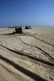 Locals live in their temporary huts in Dhanushkodi, Tamil Nadu, India. Stock Photo