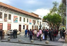 Local People Gathered in Square, Downtown Cuenca Ecuador stock image