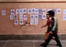 Paintings against political prisoners in barcelona Royalty Free Stock Image