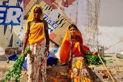 2 locals pose in Pushkar, India. Royalty Free Stock Photos