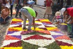 Locals que trabajan en las alfombras de la flor en las calles cobbled para la procesión San Bartolome de Becerra en Antigua Foto de archivo