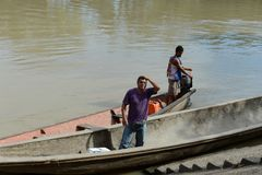 The locals on the river  Guayabero. Stock Images