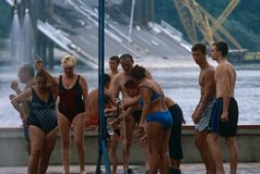 Locals in swimming costumes, Danube River, Serbia Royalty Free Stock Photography