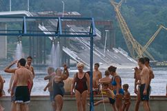 Locals in swimming costumes, Danube River, Serbia Stock Image