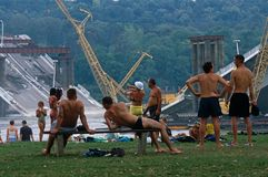 Locals in swimming costumes, Danube River, Serbia Royalty Free Stock Photos
