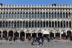 Locals and tourist at Piazza San Marco Stock Images