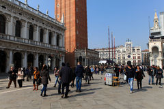 Locals and tourist at Piazza San Marco Royalty Free Stock Photo