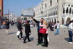 Locals and tourist at Piazza San Marco Royalty Free Stock Photography