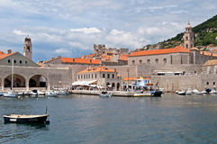 Locals and tourists are are arrived by the boat to Dubrovnik Royalty Free Stock Image