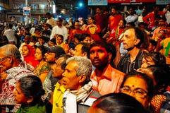 Locals and tourists in Varanasi, India. Locals and tourists wait for a celebration in Varanasi, India stock photos