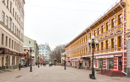 Locals and tourists walking on Arbat street Stock Image