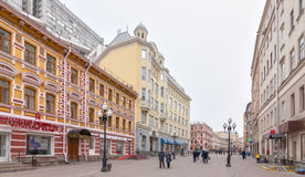 Locals and tourists walking on Arbat street Royalty Free Stock Photos