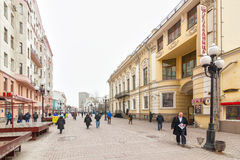 Locals and tourists walking on Arbat street Stock Images