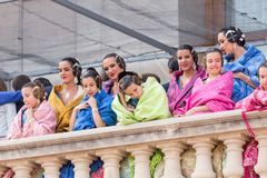 Locals in Traditional Costume royalty free stock photography