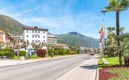 Locarno, é cidade com o clima o mais morno em Suíça imagem de stock