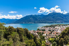 Locarno city and Mggiore lake Royalty Free Stock Image