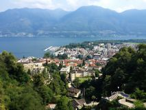 Locarno City Top View, Lago Maggiore and mountains landscape on a summer day, Ticino, Switzerland Stock Photography