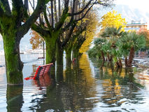 Locarno, lakeside flooded Royalty Free Stock Photo