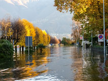 Locarno, lakeside flooded Royalty Free Stock Images