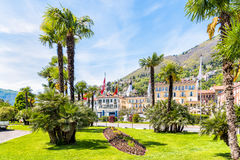 Locarno is located on the northern shore of Lake Maggiore. Stock Photo
