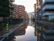 Locarno, overstroomde straten Stock Foto's