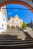 Locarno, Ticino, Szwajcaria, 05 2017 Wrzesień Schody Madonny Del Sasso kościół, Locarno, Szwajcaria Obrazy Stock