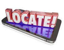 Locate 3d Word Cell Mobile Phone Lost Location Service Program A. Locate word in red 3d letters on a mobile phone or device to illustrate app, program or Stock Images