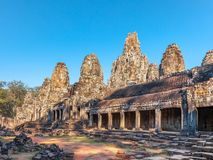 Bayon ancient temple in Cambodia. Located at Angkor Thom the last capital city of the Khmer empire. Also is a well-known and richly decorated temple at Angkor Royalty Free Stock Photos