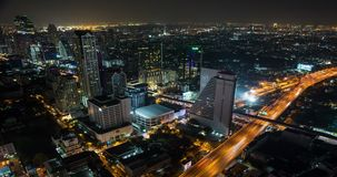 Aerial view timelapse of Bangkok cityscape at night. stock video footage