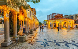 Located in the center of Macao city, old vallage Vila Da Taipa is a sample of Portuguese architecture. Illuminated entrance group. Macao, China - January 24 stock images