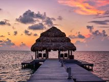 Sunrise in Belize. Located in Central America,Belize is known for it`s beautiful sunrises and tropical climate Stock Images